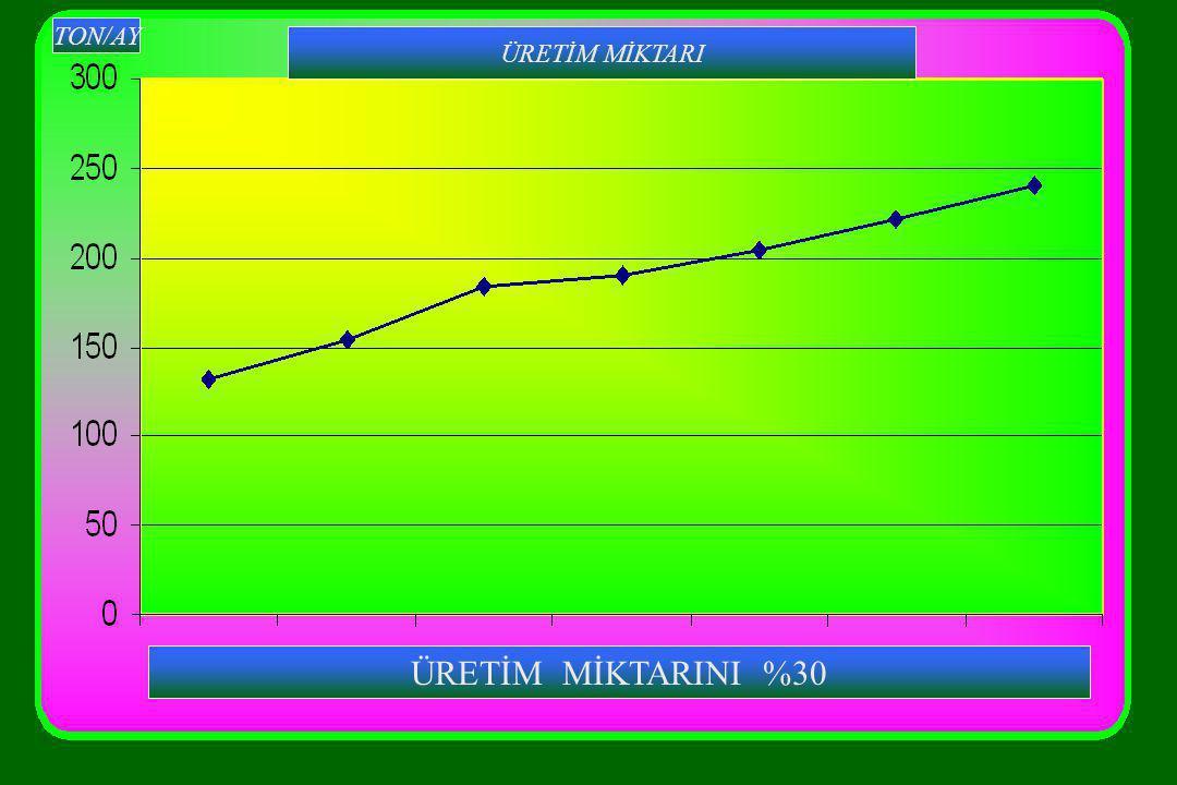 ÜRETİM MİKTARINI %30 TON/AY ÜRETİM MİKTARI