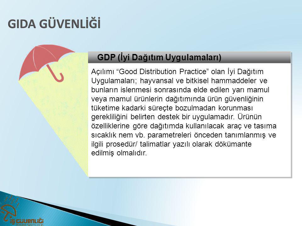 GIDA GÜVENLİĞİ GDP (İyi Dağıtım Uygulamaları)