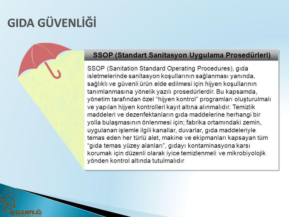 GIDA GÜVENLİĞİ SSOP (Standart Sanitasyon Uygulama Prosedürleri)