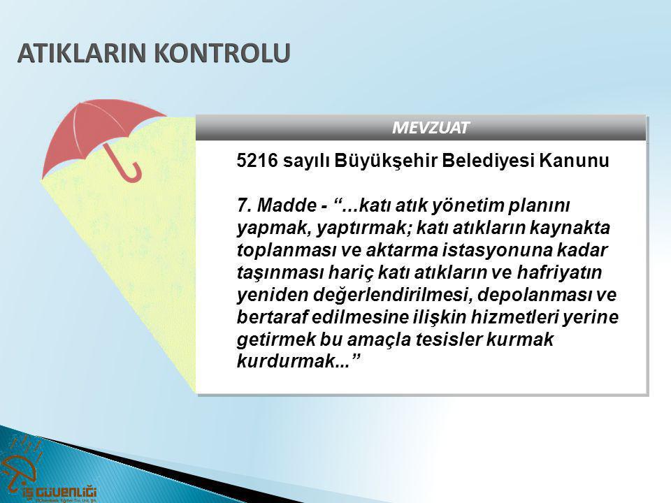 ATIKLARIN KONTROLU MEVZUAT 5216 sayılı Büyükşehir Belediyesi Kanunu