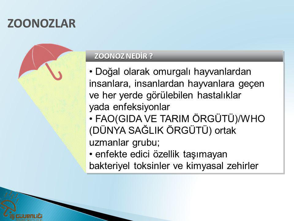 ZOONOZLAR • Doğal olarak omurgalı hayvanlardan