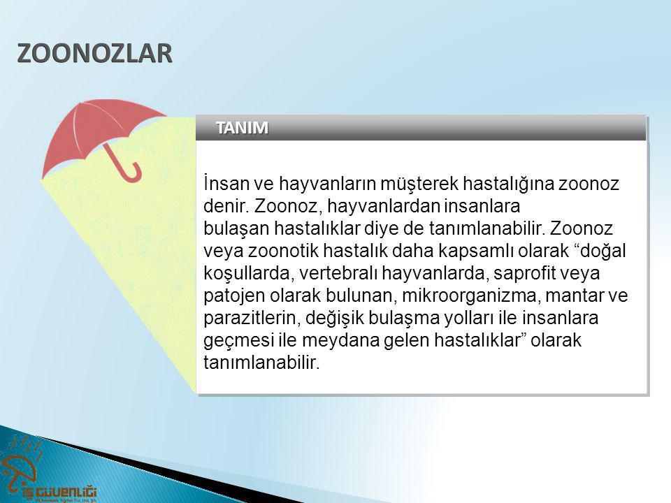 ZOONOZLAR TANIM. İnsan ve hayvanların müşterek hastalığına zoonoz denir. Zoonoz, hayvanlardan insanlara.