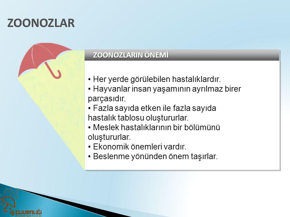 ZOONOZLAR ZOONOZLARIN ÖNEMİ • Her yerde görülebilen hastalıklardır.