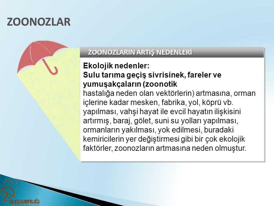 ZOONOZLAR ZOONOZLARIN ARTIŞ NEDENLERİ Ekolojik nedenler: