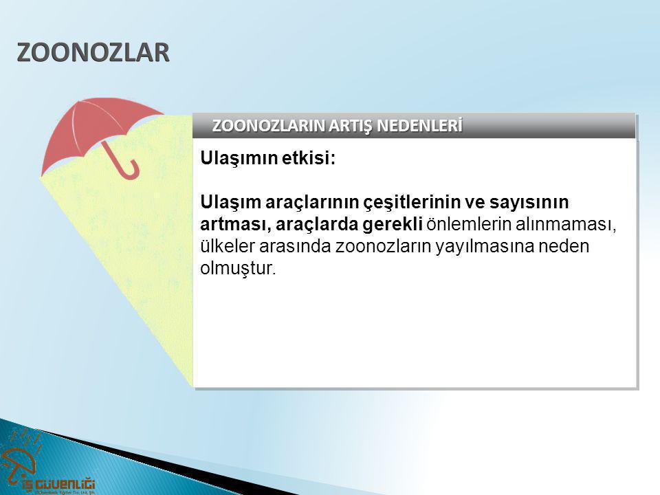 ZOONOZLAR ZOONOZLARIN ARTIŞ NEDENLERİ Ulaşımın etkisi: