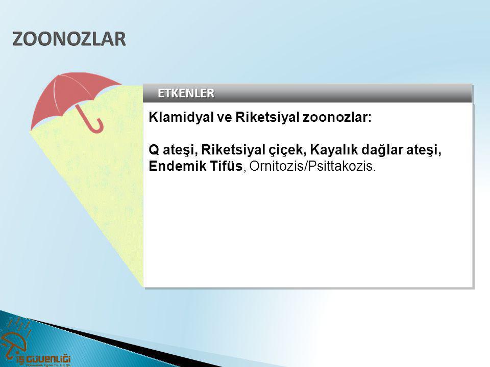 ZOONOZLAR ETKENLER Klamidyal ve Riketsiyal zoonozlar: