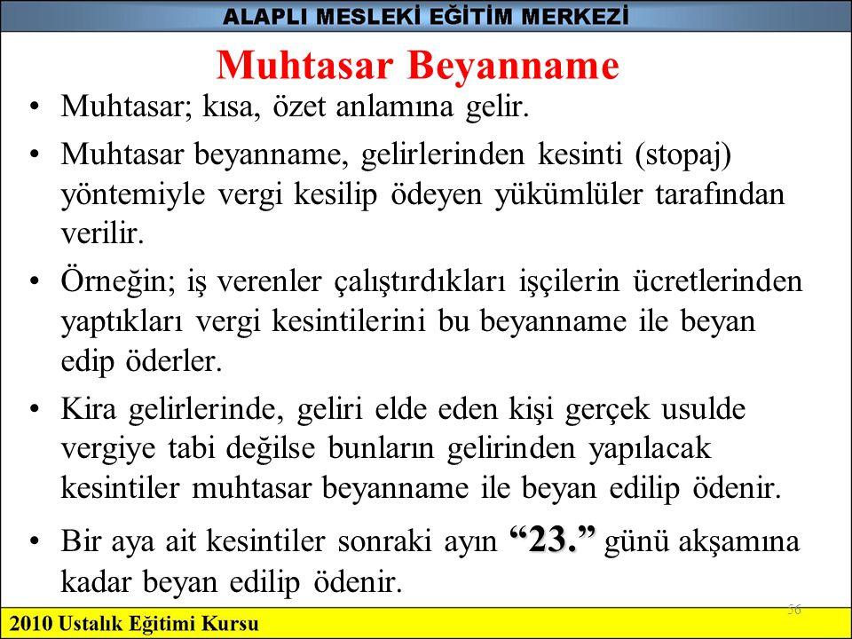 Muhtasar Beyanname Muhtasar; kısa, özet anlamına gelir.
