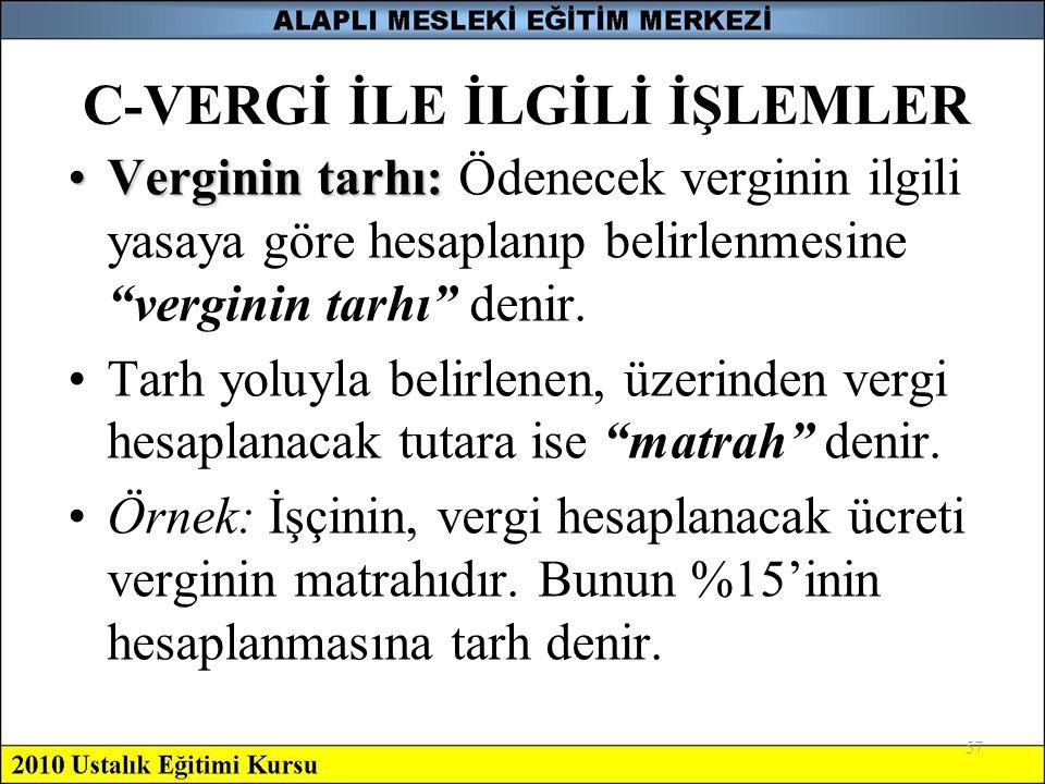 C-VERGİ İLE İLGİLİ İŞLEMLER