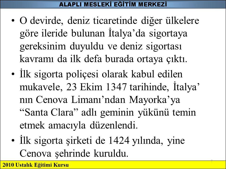 İlk sigorta şirketi de 1424 yılında, yine Cenova şehrinde kuruldu.
