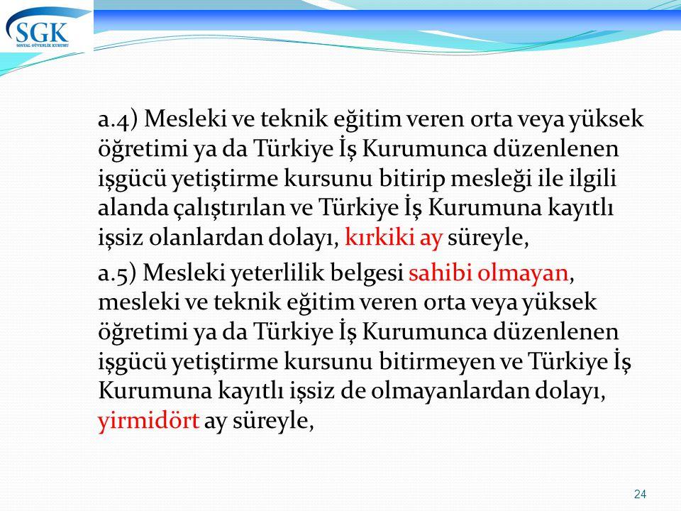 a.4) Mesleki ve teknik eğitim veren orta veya yüksek öğretimi ya da Türkiye İş Kurumunca düzenlenen işgücü yetiştirme kursunu bitirip mesleği ile ilgili alanda çalıştırılan ve Türkiye İş Kurumuna kayıtlı işsiz olanlardan dolayı, kırkiki ay süreyle,