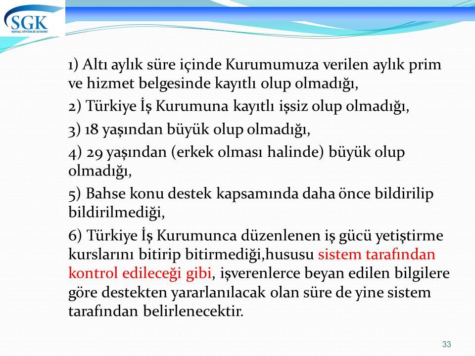 2) Türkiye İş Kurumuna kayıtlı işsiz olup olmadığı,
