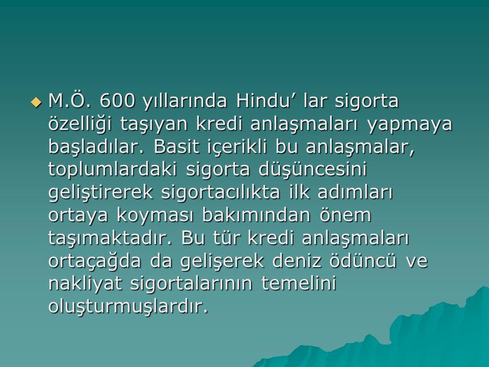 M.Ö. 600 yıllarında Hindu' lar sigorta özelliği taşıyan kredi anlaşmaları yapmaya başladılar.