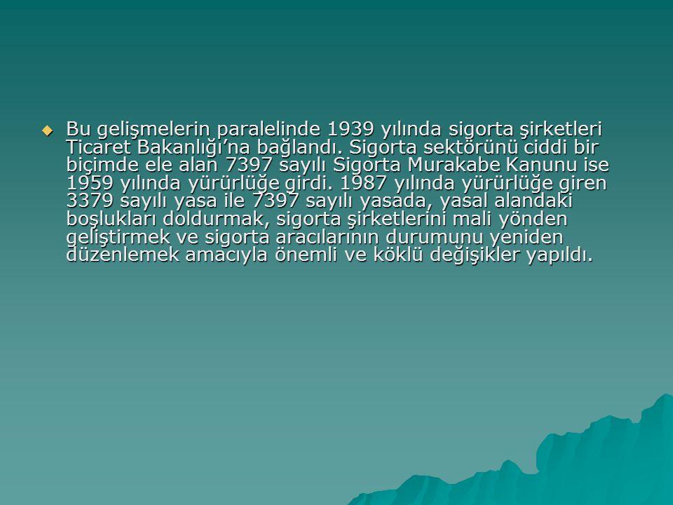 Bu gelişmelerin paralelinde 1939 yılında sigorta şirketleri Ticaret Bakanlığı'na bağlandı.