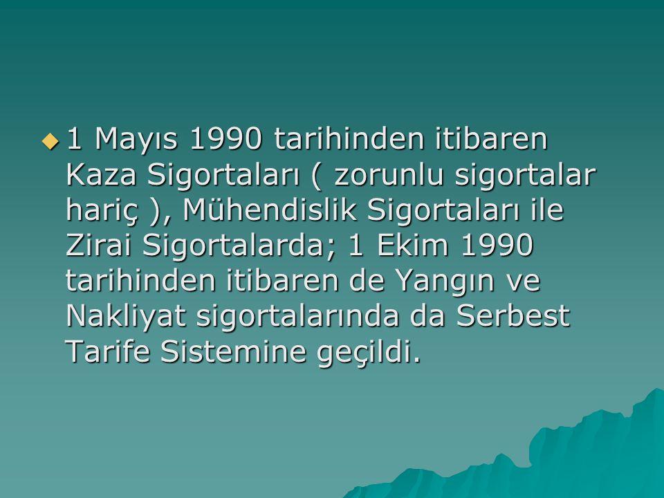 1 Mayıs 1990 tarihinden itibaren Kaza Sigortaları ( zorunlu sigortalar hariç ), Mühendislik Sigortaları ile Zirai Sigortalarda; 1 Ekim 1990 tarihinden itibaren de Yangın ve Nakliyat sigortalarında da Serbest Tarife Sistemine geçildi.