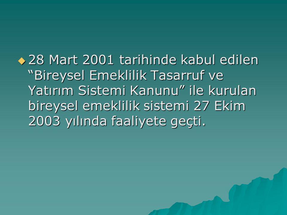 28 Mart 2001 tarihinde kabul edilen Bireysel Emeklilik Tasarruf ve Yatırım Sistemi Kanunu ile kurulan bireysel emeklilik sistemi 27 Ekim 2003 yılında faaliyete geçti.