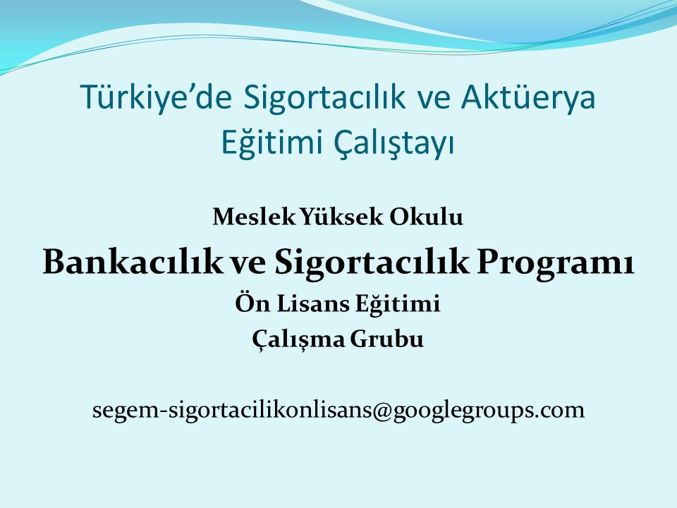 Türkiye'de Sigortacılık ve Aktüerya Eğitimi Çalıştayı