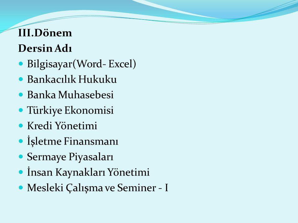 III.Dönem Dersin Adı. Bilgisayar(Word- Excel) Bankacılık Hukuku. Banka Muhasebesi. Türkiye Ekonomisi.