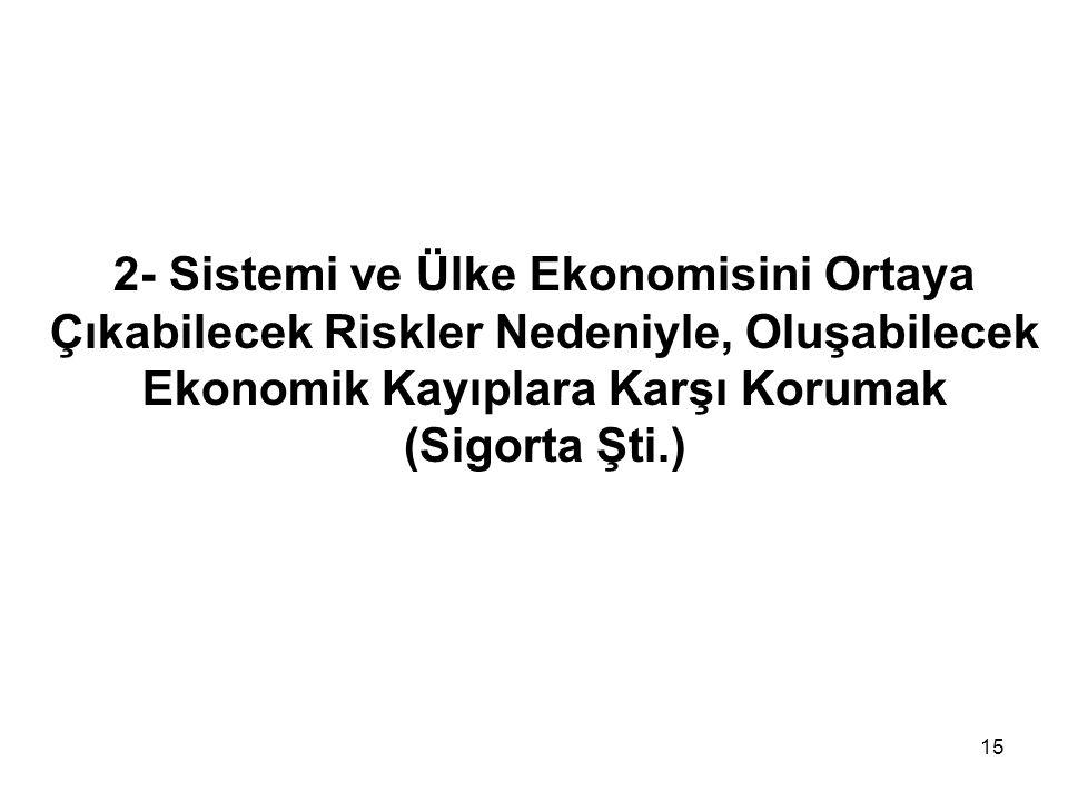 2- Sistemi ve Ülke Ekonomisini Ortaya Çıkabilecek Riskler Nedeniyle, Oluşabilecek Ekonomik Kayıplara Karşı Korumak (Sigorta Şti.)
