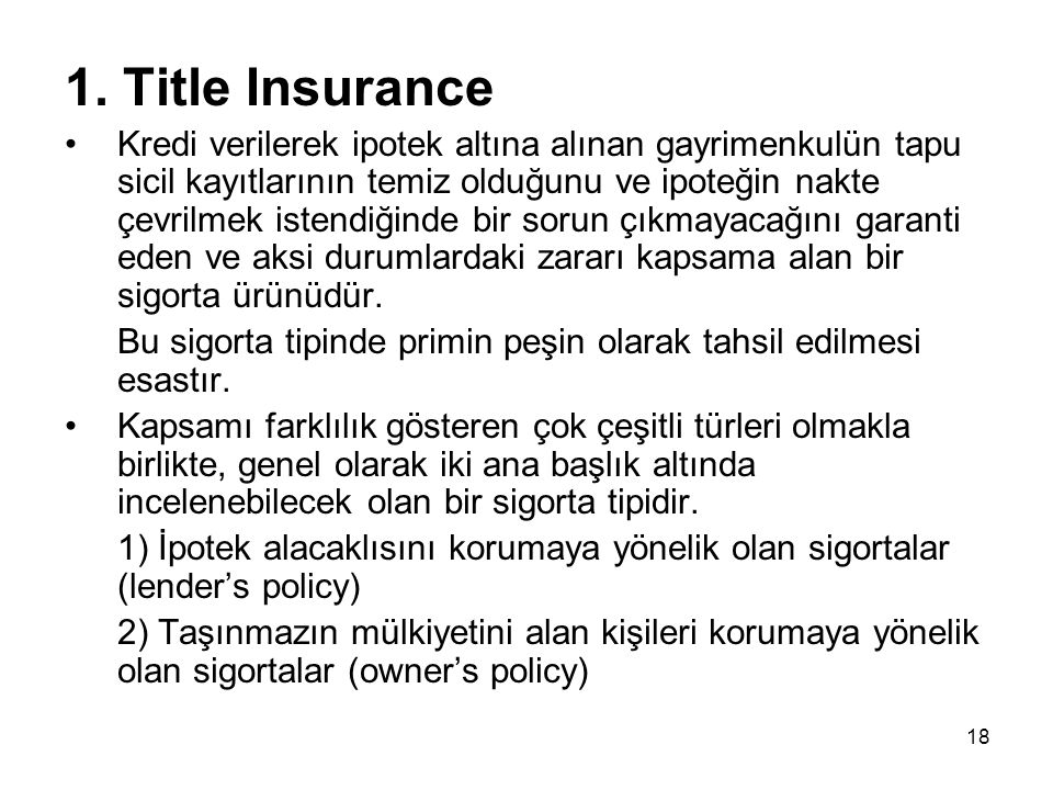 1. Title Insurance