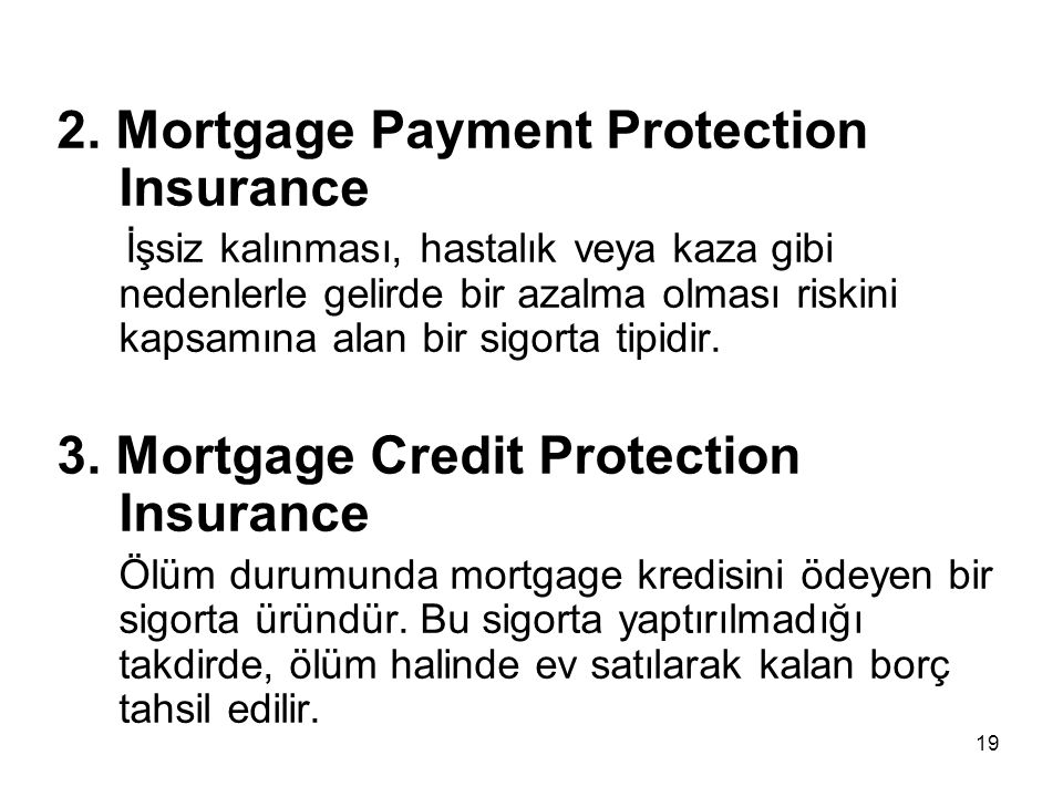 2. Mortgage Payment Protection Insurance