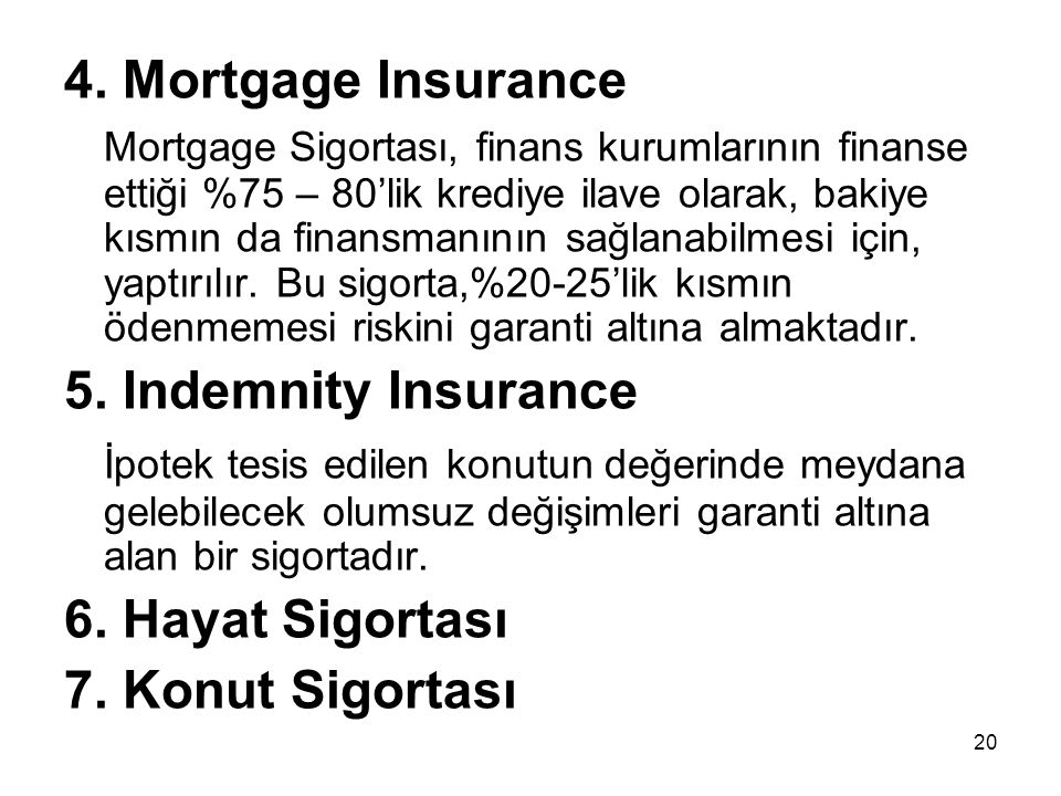 4. Mortgage Insurance 5. Indemnity Insurance