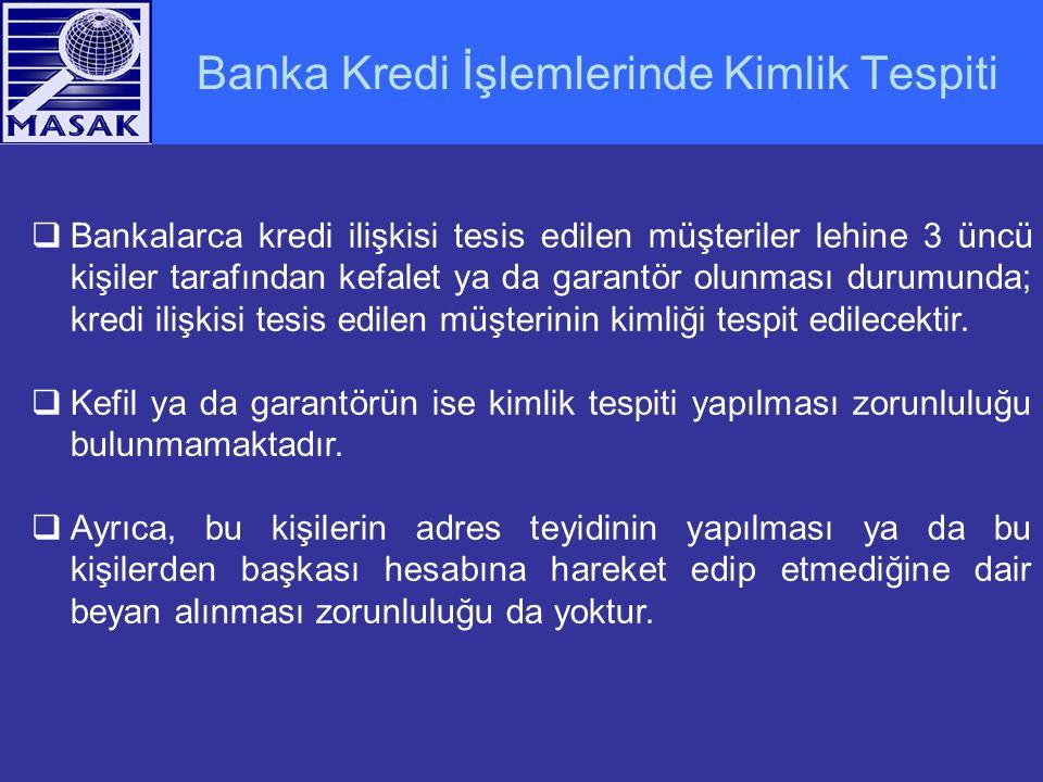 Banka Kredi İşlemlerinde Kimlik Tespiti