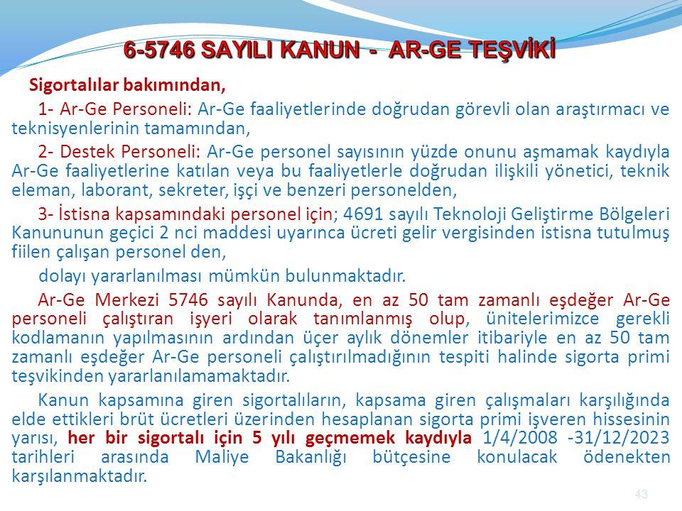 6-5746 SAYILI KANUN - AR-GE TEŞVİKİ