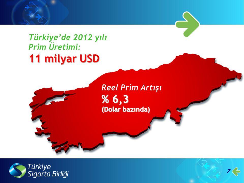 11 milyar USD % 6,3 Türkiye'de 2012 yılı Prim Üretimi: