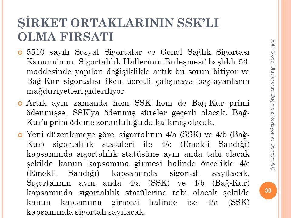 ŞİRKET ORTAKLARININ SSK'LI OLMA FIRSATI