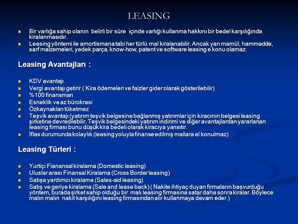 LEASING Leasing Avantajları : Leasing Türleri :