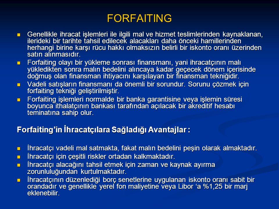 FORFAITING Forfaiting'in İhracatçılara Sağladığı Avantajlar :