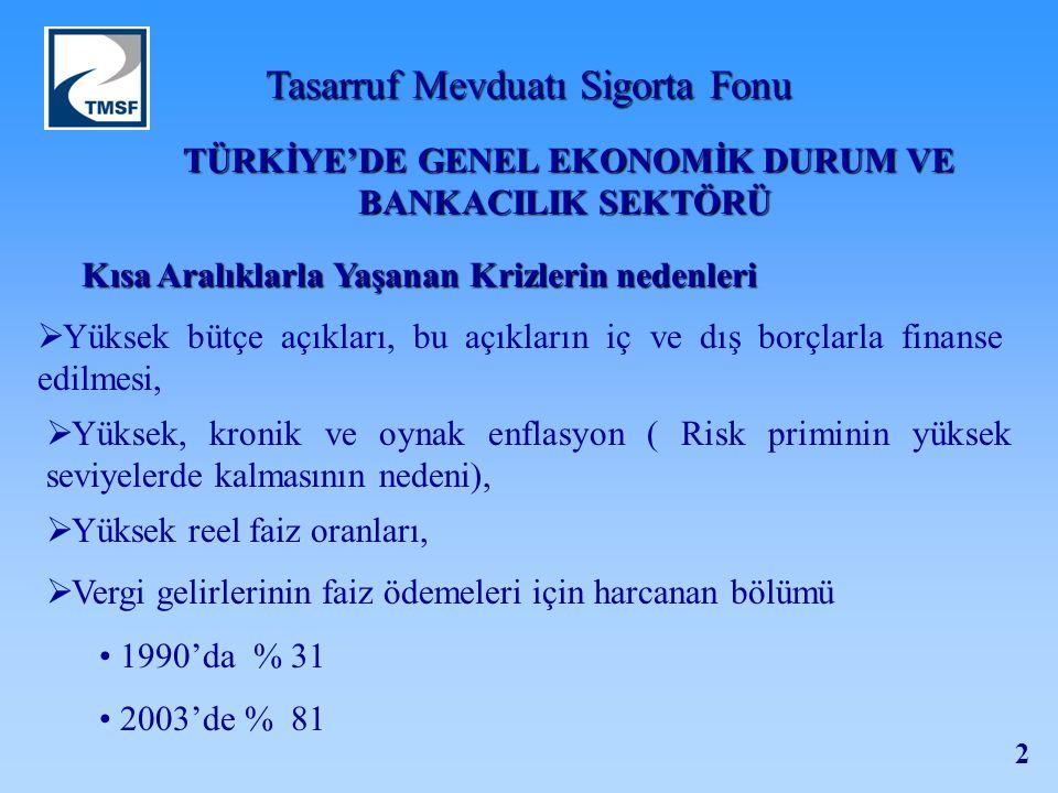 TÜRKİYE'DE GENEL EKONOMİK DURUM VE BANKACILIK SEKTÖRÜ
