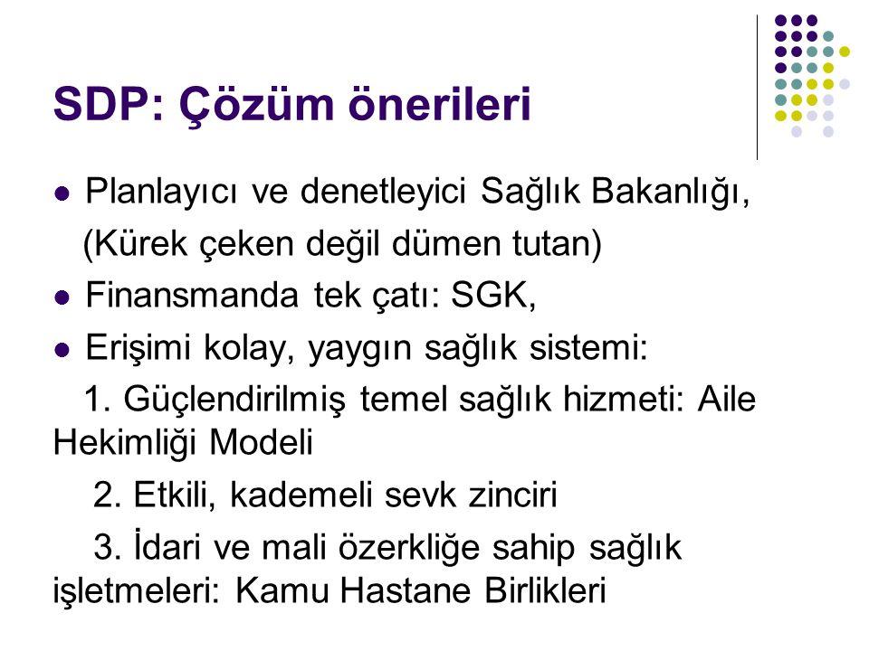SDP: Çözüm önerileri Planlayıcı ve denetleyici Sağlık Bakanlığı,