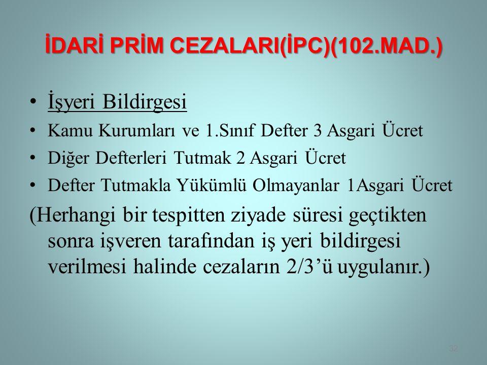 İdarİ Prİm CezalarI(İPC)(102.Mad.)