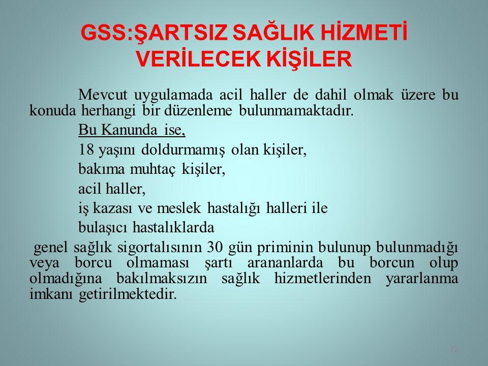 GSS:ŞARTSIZ SAĞLIK HİZMETİ VERİLECEK KİŞİLER