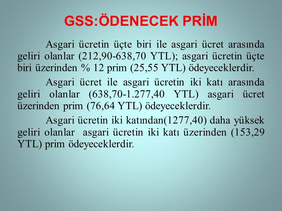GSS:ÖDENECEK PRİM