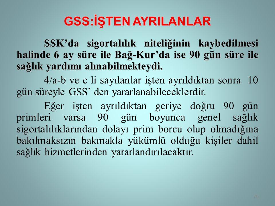 GSS:İŞTEN AYRILANLAR
