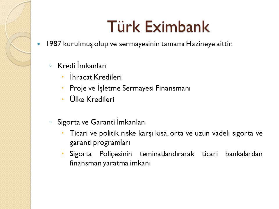 Türk Eximbank 1987 kurulmuş olup ve sermayesinin tamamı Hazineye aittir. Kredi İmkanları. İhracat Kredileri.