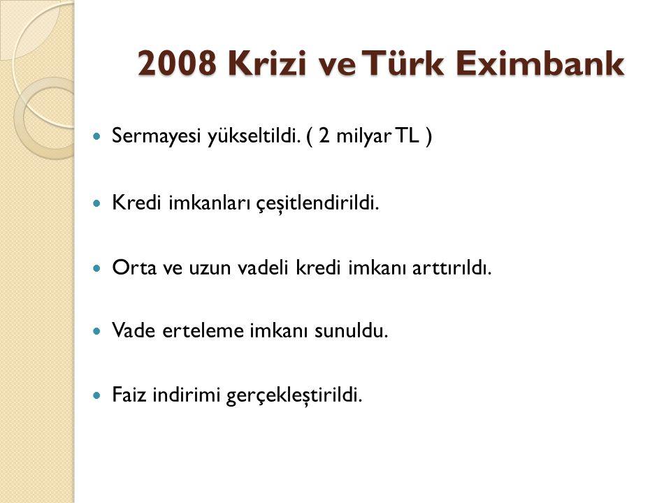 2008 Krizi ve Türk Eximbank Sermayesi yükseltildi. ( 2 milyar TL )