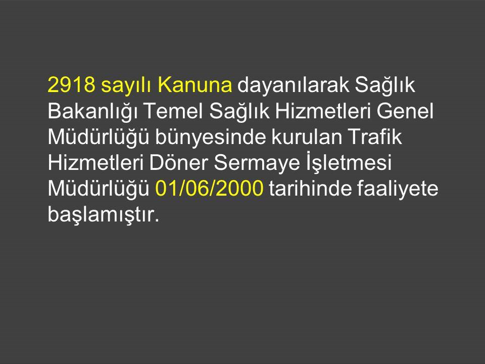 2918 sayılı Kanuna dayanılarak Sağlık Bakanlığı Temel Sağlık Hizmetleri Genel Müdürlüğü bünyesinde kurulan Trafik Hizmetleri Döner Sermaye İşletmesi Müdürlüğü 01/06/2000 tarihinde faaliyete başlamıştır.
