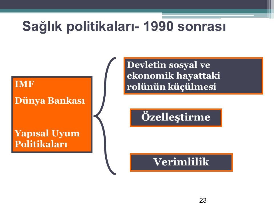Sağlık politikaları- 1990 sonrası