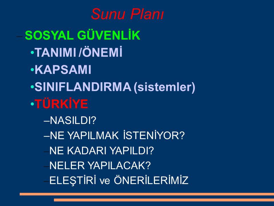 Sunu Planı SOSYAL GÜVENLİK TANIMI /ÖNEMİ KAPSAMI