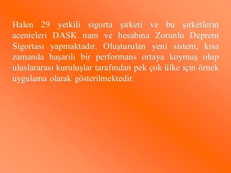 Halen 29 yetkili sigorta şirketi ve bu şirketlerin acenteleri DASK nam ve hesabına Zorunlu Deprem Sigortası yapmaktadır.
