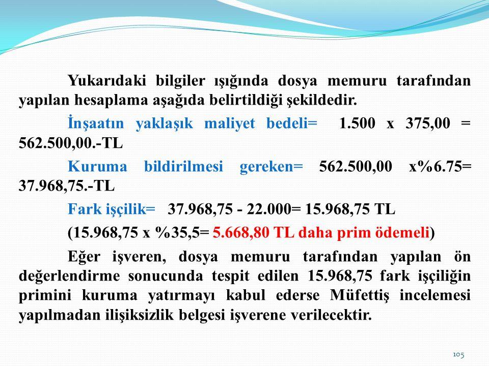 İnşaatın yaklaşık maliyet bedeli= 1.500 x 375,00 = 562.500,00.-TL