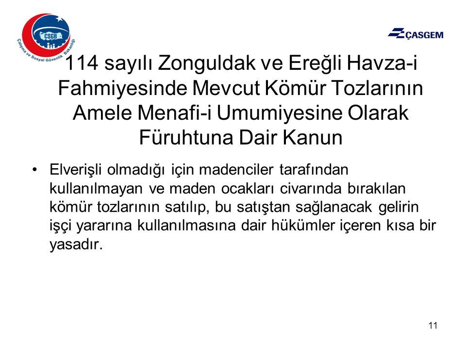 114 sayılı Zonguldak ve Ereğli Havza-i Fahmiyesinde Mevcut Kömür Tozlarının Amele Menafi-i Umumiyesine Olarak Füruhtuna Dair Kanun