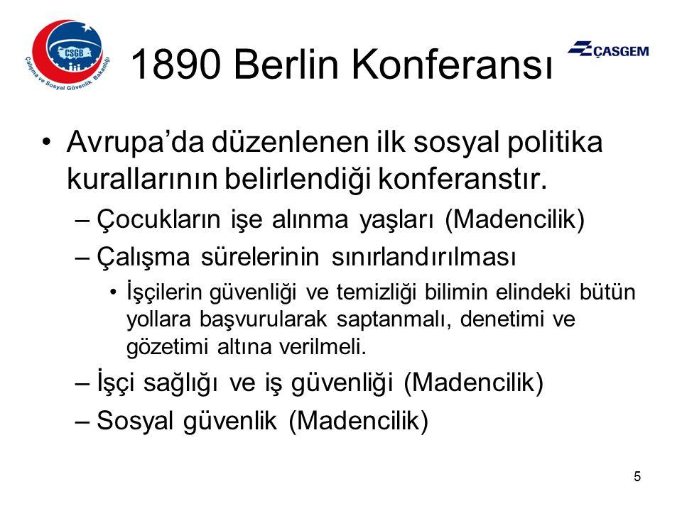 1890 Berlin Konferansı Avrupa'da düzenlenen ilk sosyal politika kurallarının belirlendiği konferanstır.