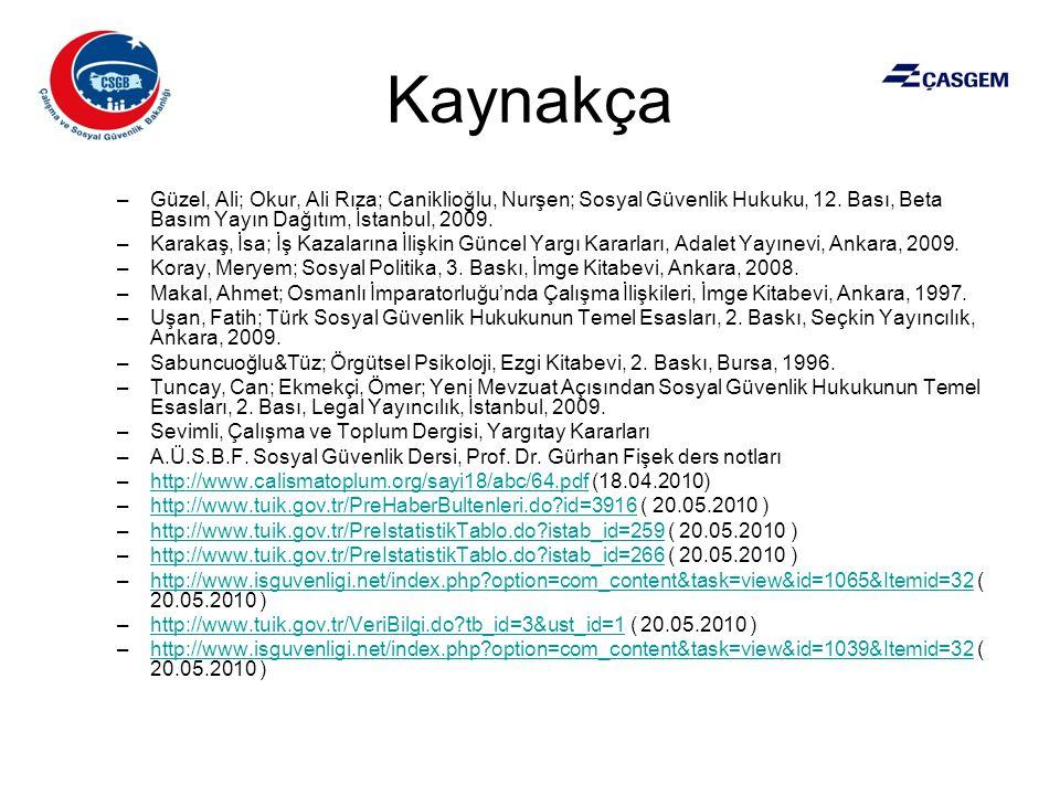 Kaynakça Güzel, Ali; Okur, Ali Rıza; Caniklioğlu, Nurşen; Sosyal Güvenlik Hukuku, 12. Bası, Beta Basım Yayın Dağıtım, İstanbul, 2009.