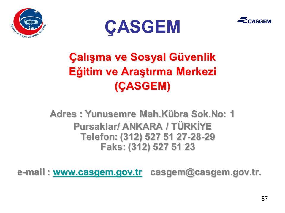 ÇASGEM Çalışma ve Sosyal Güvenlik Eğitim ve Araştırma Merkezi (ÇASGEM)