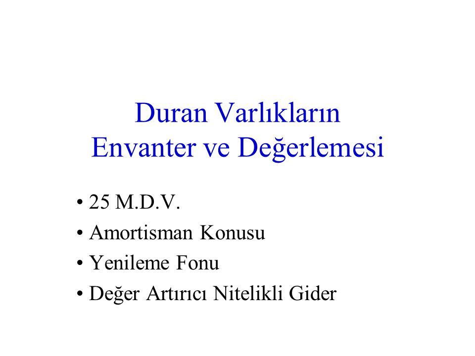 Duran Varlıkların Envanter ve Değerlemesi