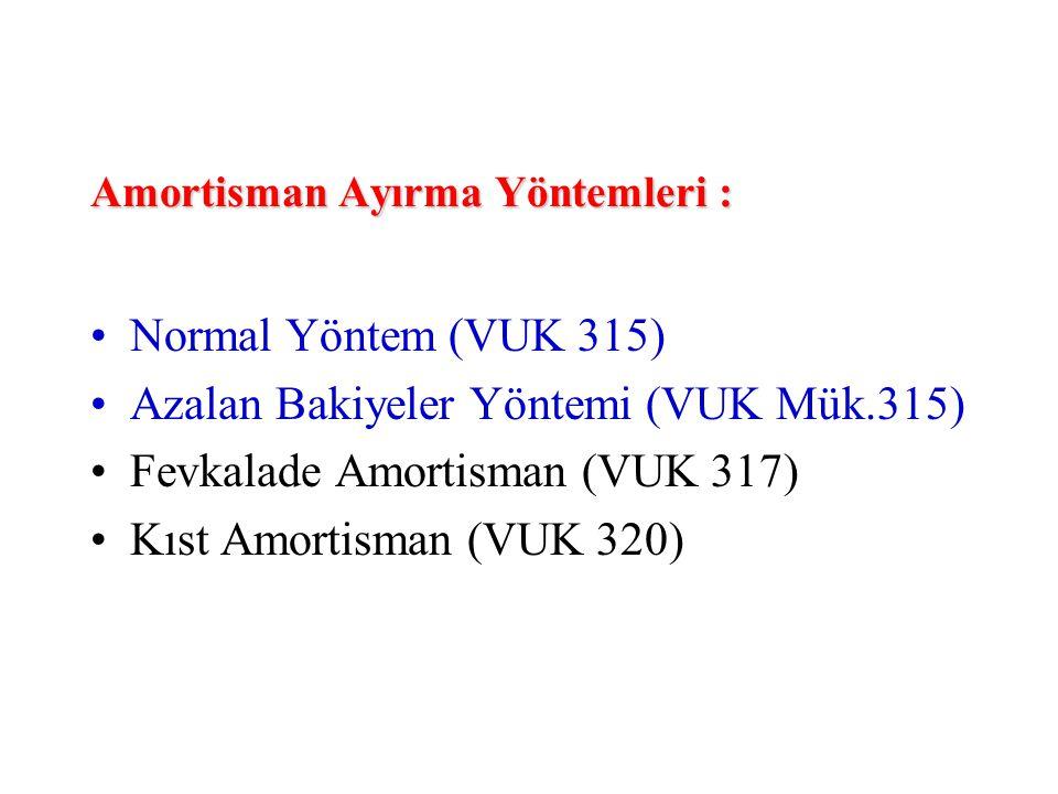 Amortisman Ayırma Yöntemleri :